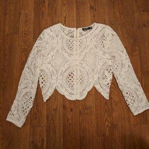 Boohoo Tops - Crochet lace zip back top
